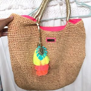 Lilly Pulitzer Cha-Cha Straw Tote Bag with Charm